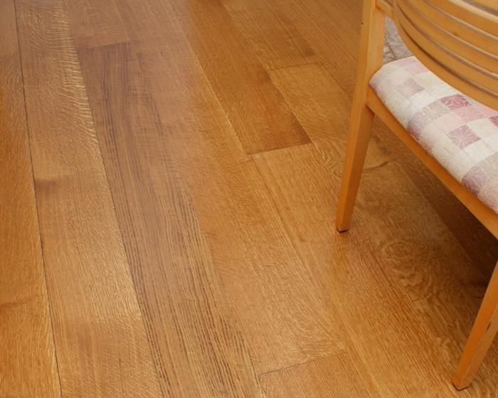 Quarter sawn white oak flooring.