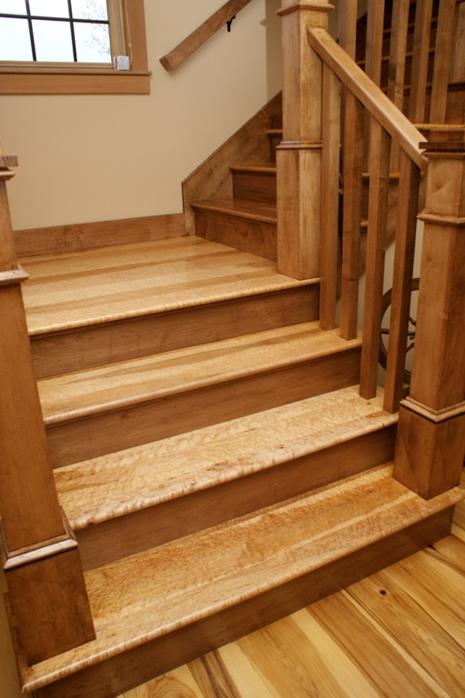 Birdseye maple custom staircase from Hull Forest Products.