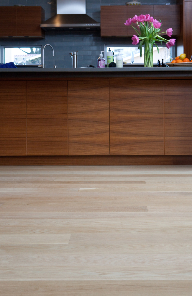 Pale White Oak wood flooring in five inch plank widths, from Hull Forest Products.