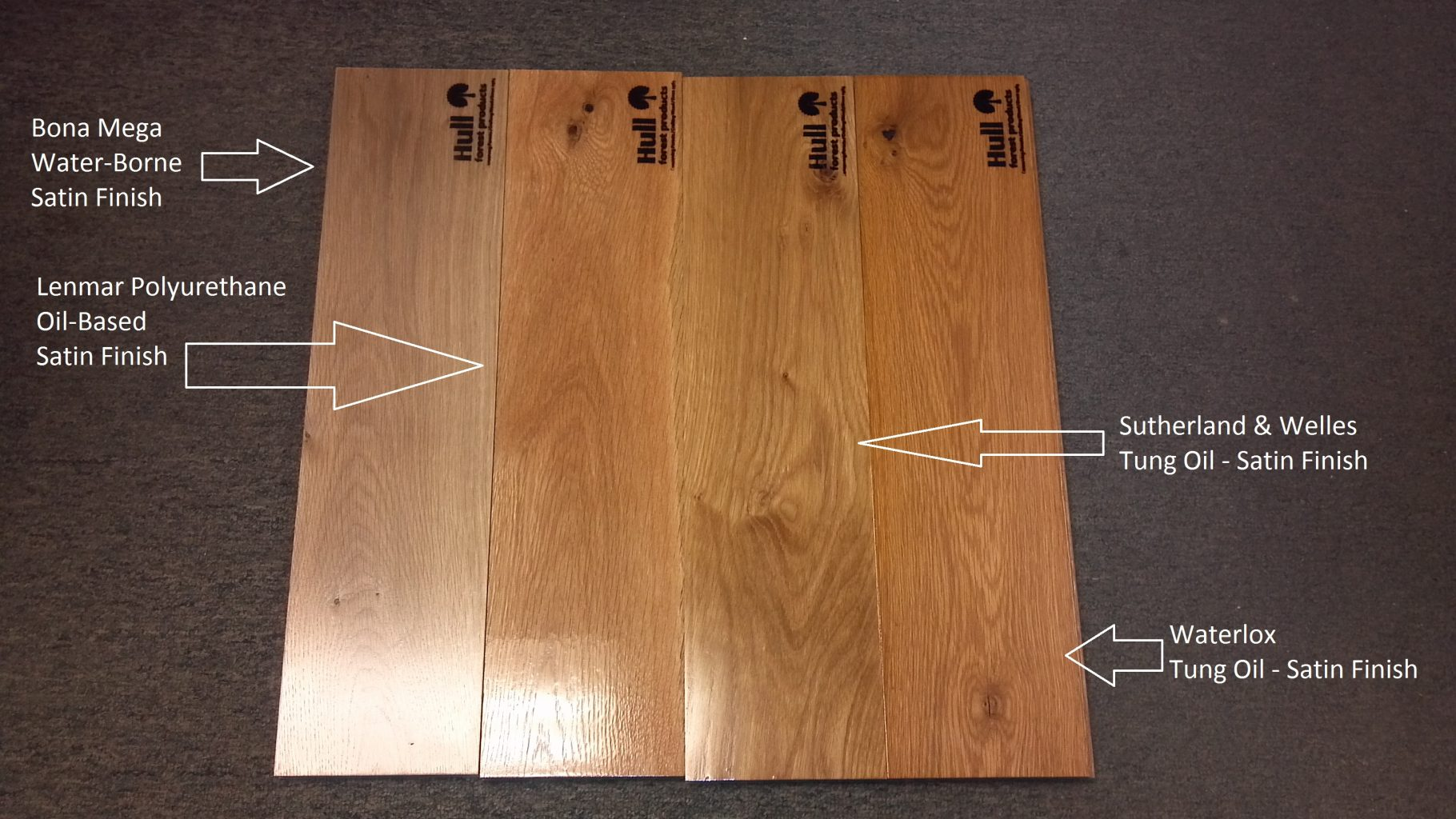 White Oak Floor Boards Labeled With Different Finishes Applied For  Comparison Purposes