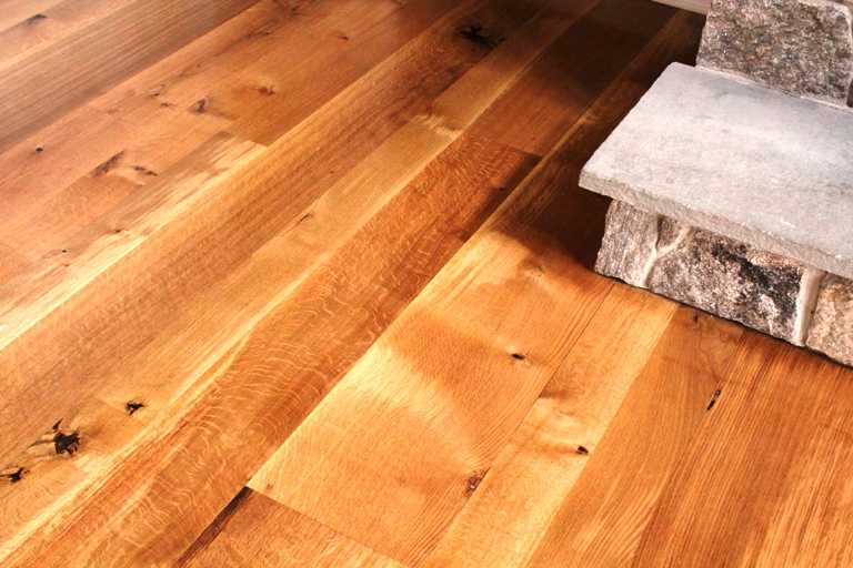rift and quartersawn white oak wide plank floors random width